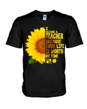 I became a Teacher V-Neck T-Shirt thumbnail