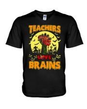Teachers Love Brains V-Neck T-Shirt thumbnail