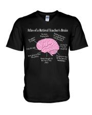 Retired Teacher Brain V-Neck T-Shirt thumbnail