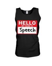 Hello My Name is Speech Unisex Tank thumbnail