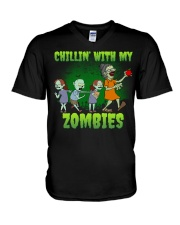 CHILLIN' WITH MY ZOMBIES V-Neck T-Shirt thumbnail