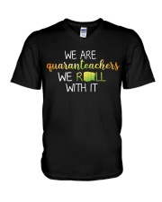 we are quanranteachers we roll with it V-Neck T-Shirt thumbnail