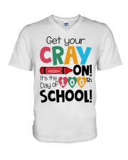 GET YOUR CRAYON IT'S THE 100TH DAY OF SCHOOL V-Neck T-Shirt thumbnail