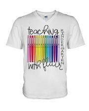 Teaching Kindergarten with Flair V-Neck T-Shirt thumbnail