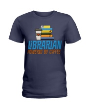 LIBRARIAN POWERED BY COFFEE Ladies T-Shirt thumbnail