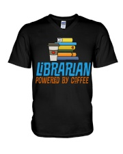 LIBRARIAN POWERED BY COFFEE V-Neck T-Shirt thumbnail