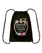 QUARANTEACHING - Teacher at heart Drawstring Bag thumbnail