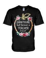 QUARANTEACHING - Teacher at heart V-Neck T-Shirt thumbnail
