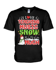 I LOVE TEACHING MUSIC SNOW MUCH V-Neck T-Shirt tile