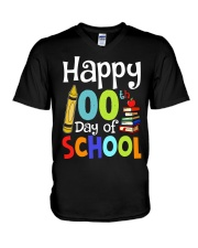 HAPPY 100TH DAYS OF SCHOOL V-Neck T-Shirt thumbnail