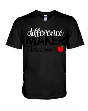 Teacher Difference Maker V-Neck T-Shirt tile