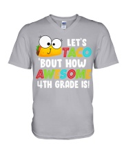 LET'S TACO BOUT HOW AWESOME 4TH GRADE IS V-Neck T-Shirt thumbnail