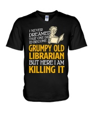 Grumpy Old Librarian V-Neck T-Shirt thumbnail