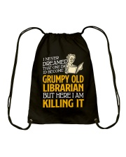 Grumpy Old Librarian Drawstring Bag thumbnail