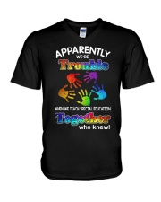 We Teach Special Education  V-Neck T-Shirt thumbnail