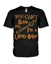 You can't scare me i'm a library helper V-Neck T-Shirt thumbnail