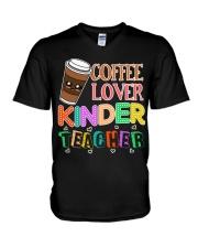 Coffee Lover Kinder Teacher V-Neck T-Shirt thumbnail