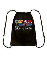 READ LIKE A HERO Drawstring Bag front