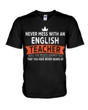 Never mess with an English Teacher V-Neck T-Shirt thumbnail