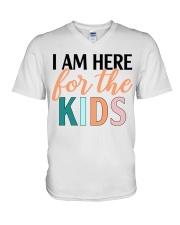 I am here for the kids V-Neck T-Shirt thumbnail