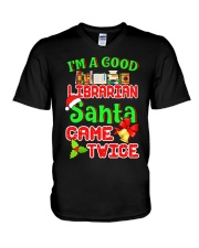 I'M A GOOD LIBRARIAN SANTA CAME TWICE V-Neck T-Shirt thumbnail