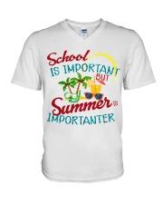 School is important But Summer V-Neck T-Shirt thumbnail