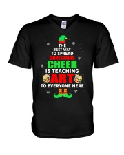 SPREAD CHRISTMAS CHEER IS TEACHING ART V-Neck T-Shirt thumbnail