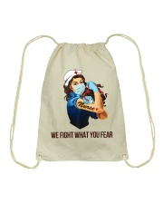 We fight what you fear Drawstring Bag thumbnail