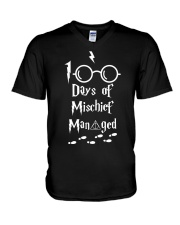 100 DAYS OF MISCHIEF MAN GED V-Neck T-Shirt thumbnail
