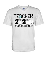 Teacher 2020 Quarantined V-Neck T-Shirt tile