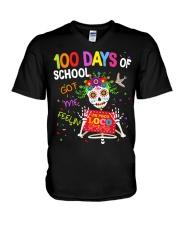 100 DAYS OF SCHOOL GOT ME FEELING V-Neck T-Shirt thumbnail