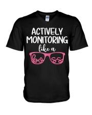 Actively monitoring like a boss V-Neck T-Shirt thumbnail