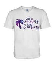 Less teaching more beaching V-Neck T-Shirt thumbnail