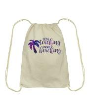 Less teaching more beaching Drawstring Bag thumbnail