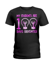 MY STUDENTS ARE 100 DAYS BRIGHTER Ladies T-Shirt thumbnail
