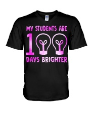 MY STUDENTS ARE 100 DAYS BRIGHTER V-Neck T-Shirt thumbnail