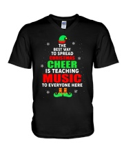 SPREAD CHRISTMAS CHEER IS TEACHING MUSIC V-Neck T-Shirt tile