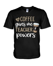 Coffee Gives Me Teacher Powers V-Neck T-Shirt tile