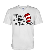 I Teach a Thing or Two V-Neck T-Shirt tile