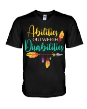 ABILITIES OUTWEIGH DISABILITIES V-Neck T-Shirt thumbnail