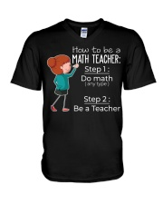 HOW TO BE A MATH TEACHER V-Neck T-Shirt thumbnail