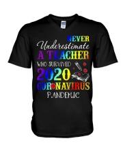 A Teacher who survived 2020 V-Neck T-Shirt thumbnail