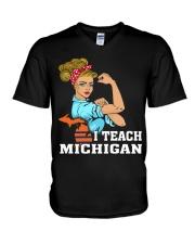 I TEACH MICHIGAN V-Neck T-Shirt thumbnail