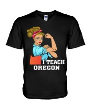 I TEACH OREGON V-Neck T-Shirt thumbnail