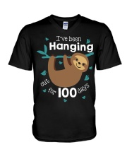 I'VE BEEN HANGING OUT FOR 100 DAYS V-Neck T-Shirt tile