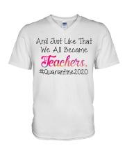 we all became Teachers V-Neck T-Shirt thumbnail