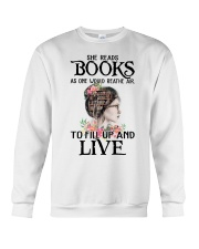 SHE READS BOOKS AS ONE WOULD REATHE AIR Crewneck Sweatshirt thumbnail