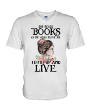 SHE READS BOOKS AS ONE WOULD REATHE AIR V-Neck T-Shirt thumbnail