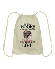 SHE READS BOOKS AS ONE WOULD REATHE AIR Drawstring Bag thumbnail