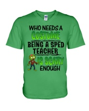 WHO NEEDS A COSTUME BEING A SPED TEACHER IS SCARY V-Neck T-Shirt thumbnail